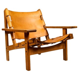 1960s Vintage Erling Jessen Oak and Leather Lounge Chair For Sale