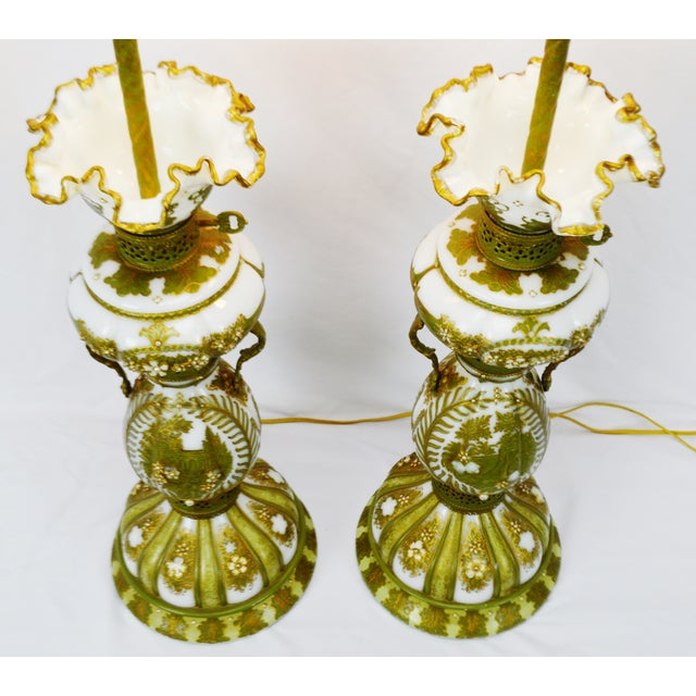 Art Deco Vintage Hand Painted French Opaline Glass Table Lamps - a Pair For Sale - Image 3 of 13