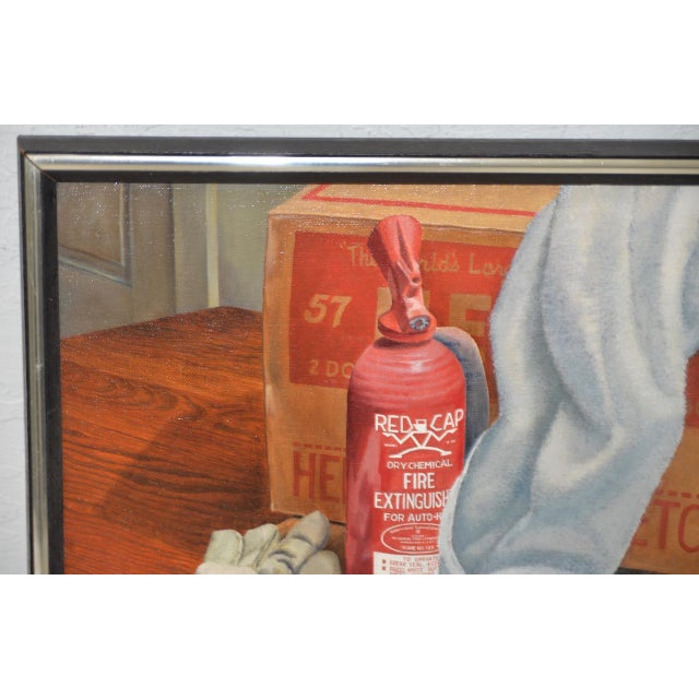 """Late 20th Century John T. Axton III (1922-2009) """"Work Bench"""" Original Realism Still Life Oil Painting For Sale - Image 5 of 8"""