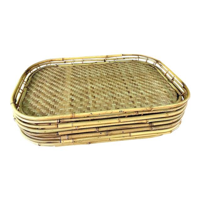 Vintage Boho Bamboo Serving Trays - Set of 6 - Image 1 of 4