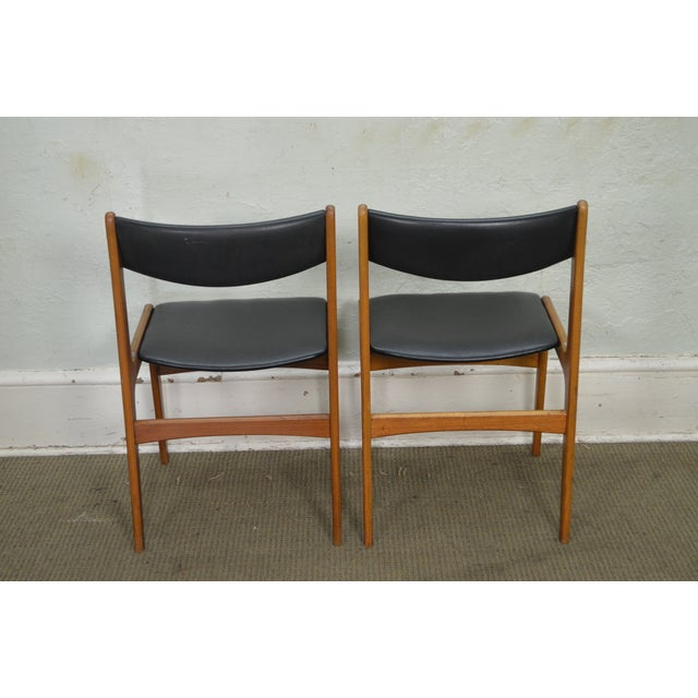 Danish Modern Teak & Black Leather Dining Chairs - Set of 4 For Sale - Image 4 of 11