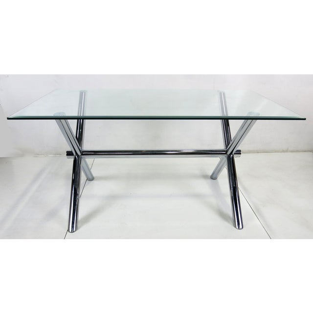 Modern Italian Chrome X-Base Trestle Dining Table or Writing Desk For Sale - Image 3 of 5