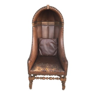 1970s Vintage Regency Hall Porter's Leather Chair For Sale
