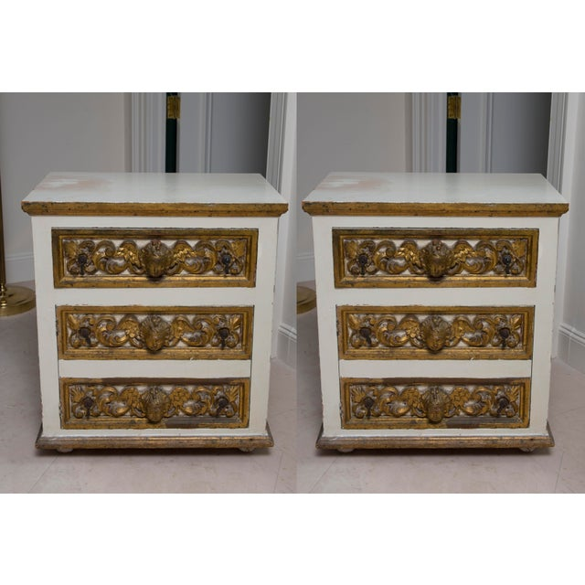 Pair of Italian White and Parcel-Gilt Chests For Sale - Image 11 of 11