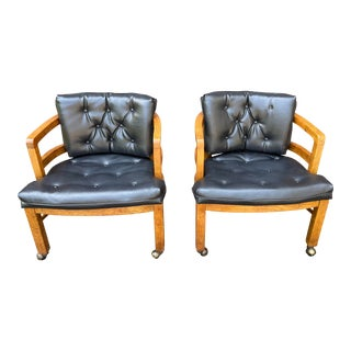1970s Vintage Drexel Exposed Wood Frame Club Chairs For Sale