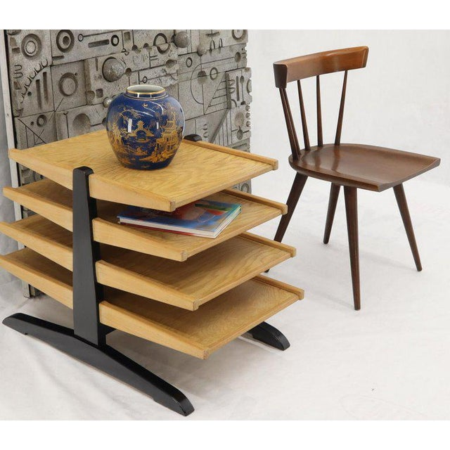 Free standing Mid-Century Modern 4 level wings large magazine rack stands shelf display. In style of Dunbar.