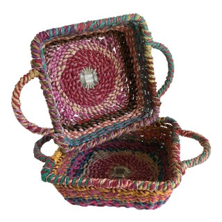 Bohemian Rag Rope Basket Trays - a Pair For Sale