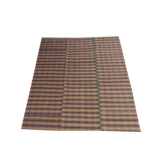 Vintage Turkish Striped Plaid Flatweave - 6′ × 8′5″ For Sale
