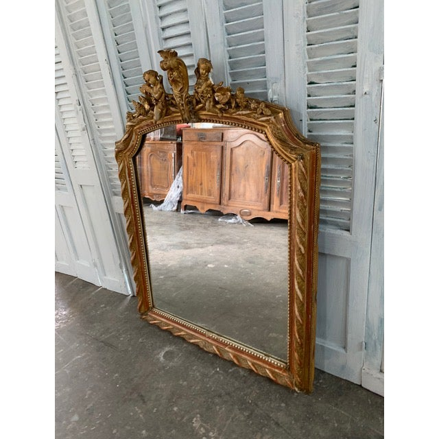 French 18th Century French Louis XVI Giltwood Mirror For Sale - Image 3 of 8