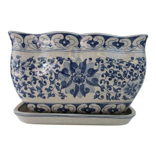 20th Century Asian Blue and White Rectangular Planter with Tray For Sale