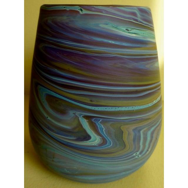 Mid Century Studio Art Glass Vase For Sale - Image 4 of 13