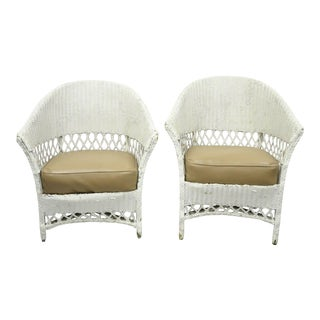Antique White Wicker Rattan His and Hers Sunroom Victorian Arm Chairs - a Pair For Sale