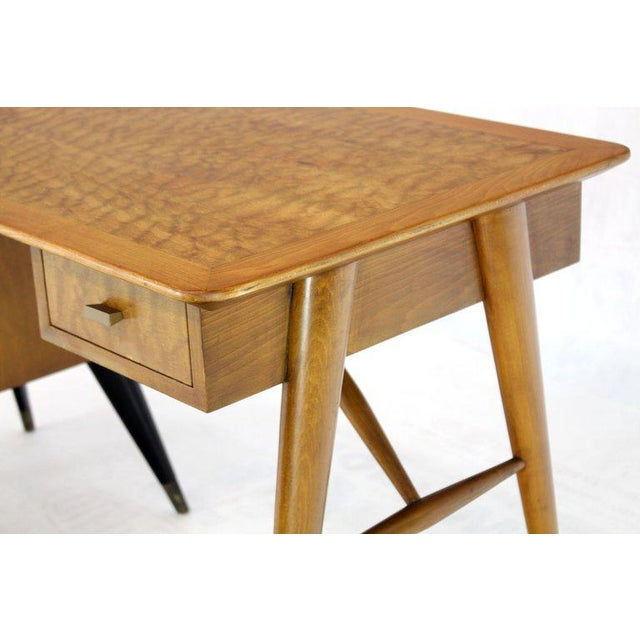 Italian Birch Tiger Maple Exposed Sculptural Legs One Pedestal 4 Drawers Desk For Sale - Image 4 of 13