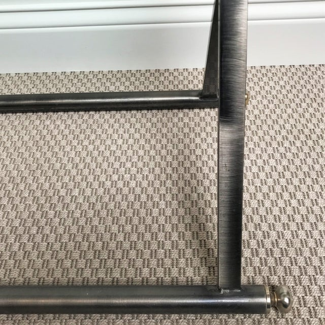 Modern Post Modern Classicism Brushed Steel & Glass Console Table For Sale - Image 3 of 9