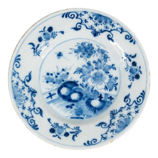 Antique 18th-Century Delft Dutch Chinoiserie Floral Plate For Sale