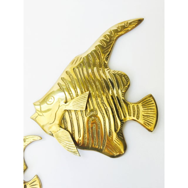 Vintage Brass Angel Fish Wall Hangings - Set of 3 For Sale - Image 4 of 6