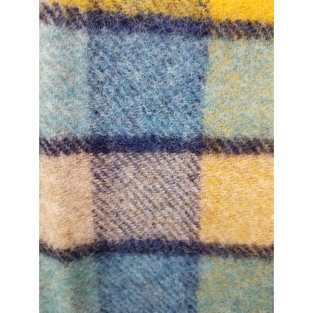 Wool Throw Blues and Yellow Squares - Made in England For Sale - Image 12 of 13