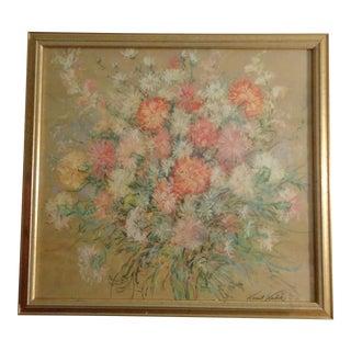 1979 Vintage Kamil Kubik Italian Summer Abundance Daisy Floral Artwork Flowers Print For Sale