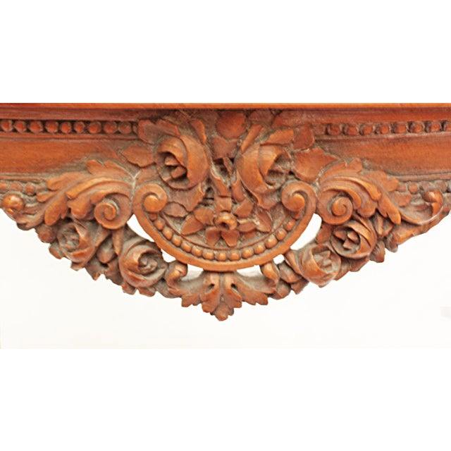 Black Marble Oval Deco Carved Fruitwood Occasional Table For Sale - Image 7 of 7