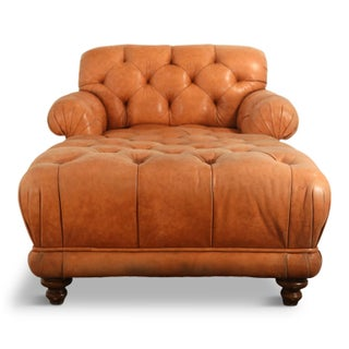 Tufted Distressed Leather Ralph Lauren Chesterfield Styled Chaise Lounge Daybed Preview