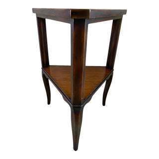 Theodore Alexander Mahogany Triangle Side Table For Sale