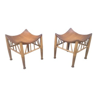 Modern Mid Century Style Accent Stools- A Pair For Sale