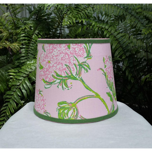 Light Pink Lilly Pulitzer Fabric Pink, Green Tapered Drum Lampshade For Sale - Image 8 of 12