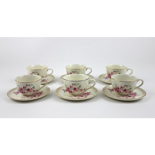 1940's Peach Blossoms Bolero China Teacups & Saucers - Set of 6 For Sale In Raleigh - Image 6 of 6