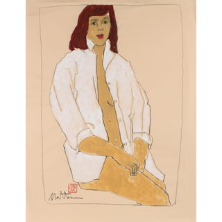 Rip Matteson Female Figure in a White Shirt, Charcoal & Gouache Painting, Late 20th Century For Sale