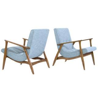 Modernist Scoop Oak Linen Upholstered Lounge Chairs - a Pair For Sale