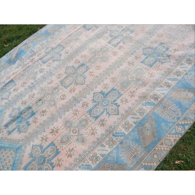 Blue Vintage Distressed Turkish Oushak Rug 6′3″ × 8′8″ For Sale - Image 8 of 13