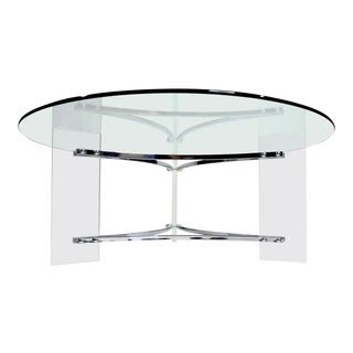Charles Hollis Jones Acrylic Lucite and Chrome Coffee Table For Sale