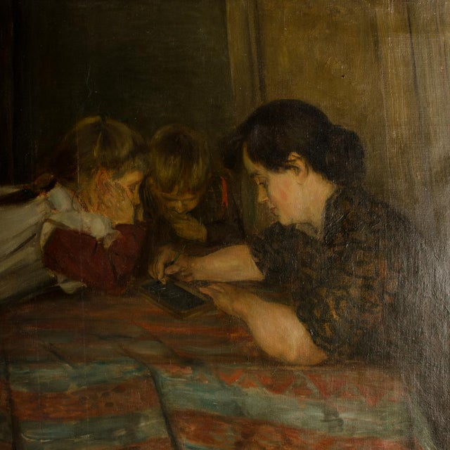 """19th Century """"Family Time"""" Figurative Oil Painting For Sale - Image 9 of 11"""