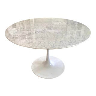 "Carrara Marble 48"" Round Tulip Table For Sale"