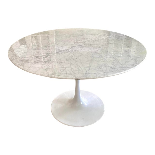 """Carrara Marble 48"""" Round Tulip Table For Sale"""