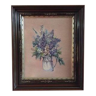 Vintage Needlework Art in Antique Walnut Frame For Sale