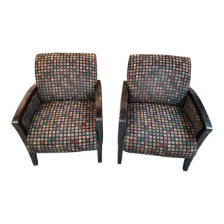 1990s Custom Matte Black Lacquer Frame Chairs - A Pair For Sale