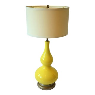 Mid-Century Vintage Yellow Ceramic Lamp