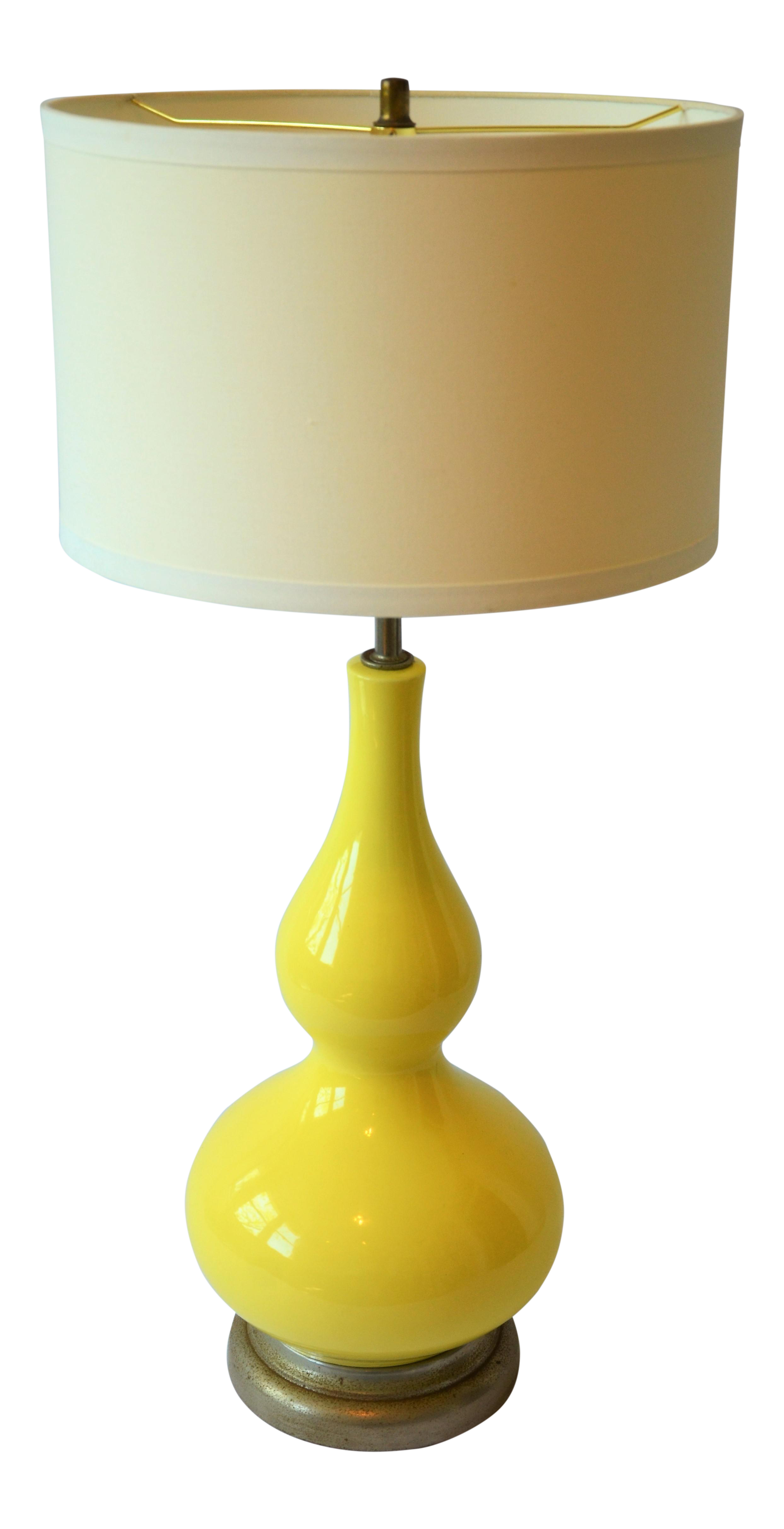Mid Century Vintage Yellow Ceramic Lamp
