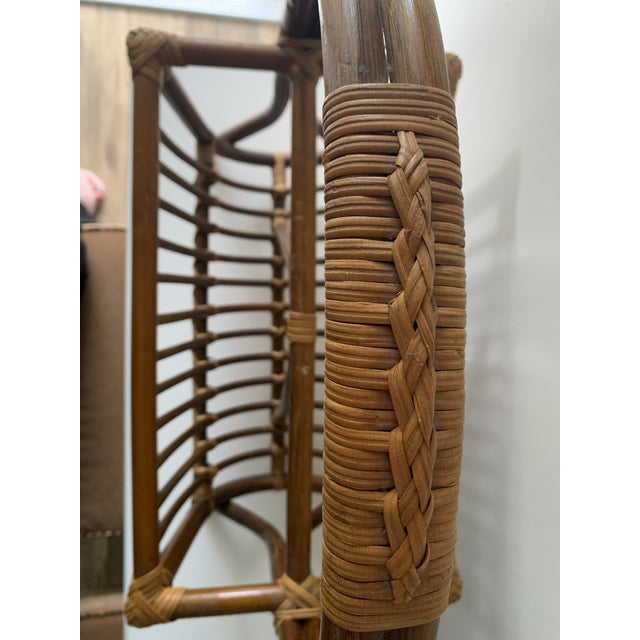 Brown 1970s Mid-Century Rattan Magazine Rack For Sale - Image 8 of 13