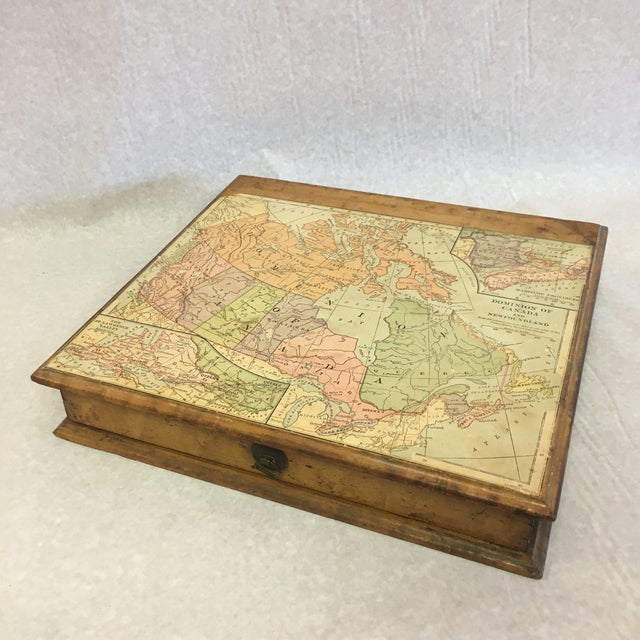 Brown Vintage Wooden Drawer With Map For Sale - Image 8 of 9