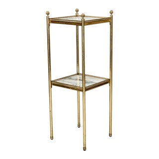 Mid Century Italian Neoclassic Marble and Brass Side Table For Sale