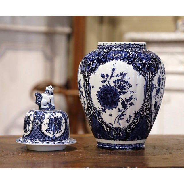 Mid-Century Dutch Faience Blue and White Painted Delft Ginger Jar With Lid For Sale - Image 4 of 10