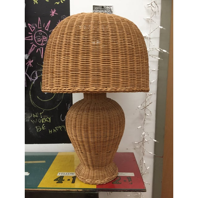 Tan 1960s Vintage Wicker Lamp and Shade For Sale - Image 8 of 8