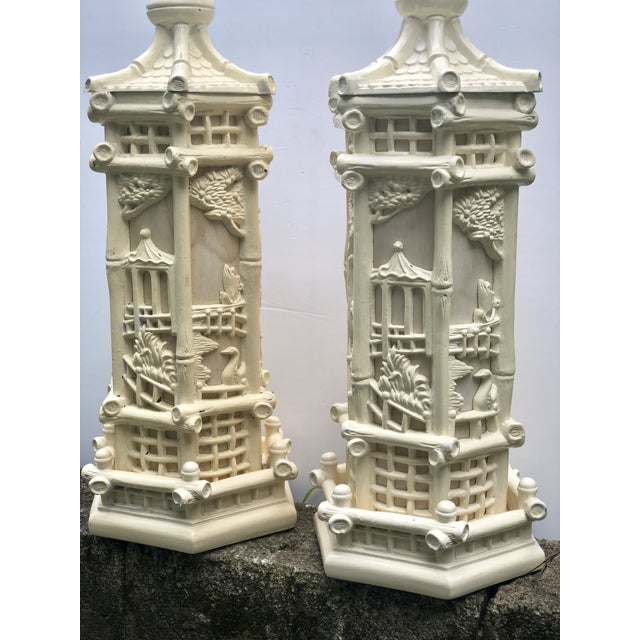 Asian Faux Bamboo Chinoiserie Style Pagoda Lamps - a Pair For Sale - Image 3 of 8
