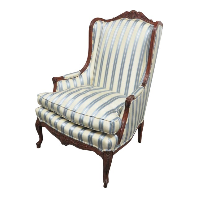 Louis XV Style Walnut Wing Chair For Sale