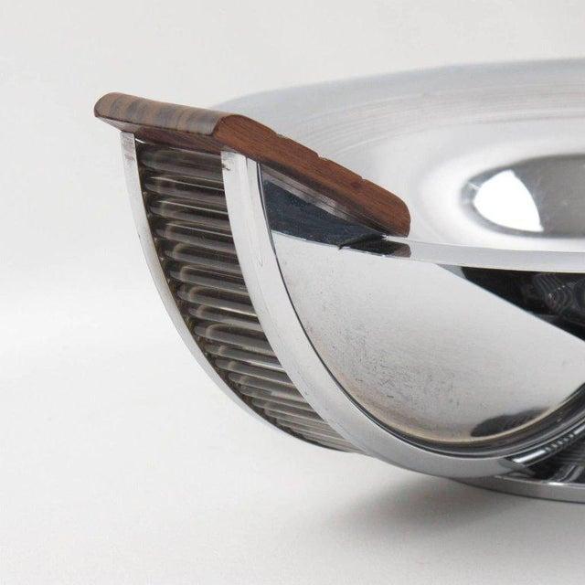 French Massabova Art Deco Chrome Macassar Centerpiece Bowl - Image 7 of 11