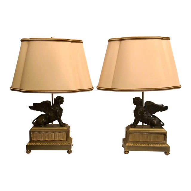 Pair Antique French Napoleonic Era Bronze Sphinx Figures Made Into Lamps, Circa 1800-1810. For Sale