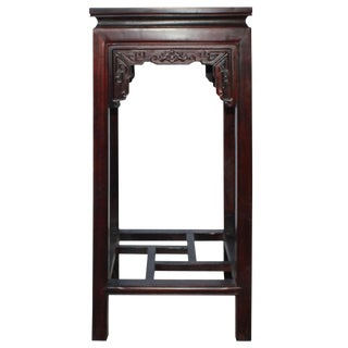 Chinese Huali Brown Square Carving Plant Stand Pedestal Table For Sale