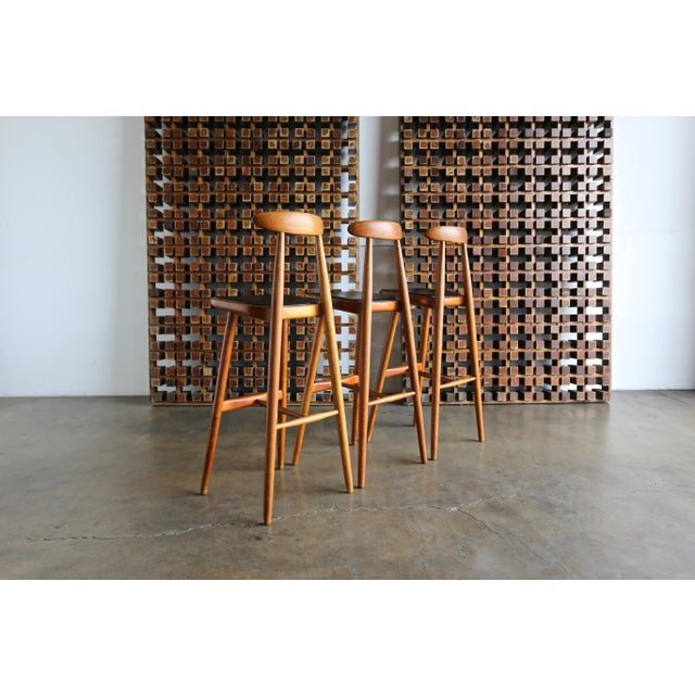 Brown Vilhelm Wohlert for Stolefabriken Odense Danish Stools- Set of 3 For Sale - Image 8 of 13